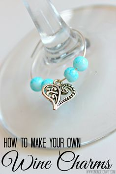 These DIY wine charms are so easy to make!  With wire, beads, and charms, you can make gorgeous wine charms for hostess gifts, weddings, bridal showers, or just a party!