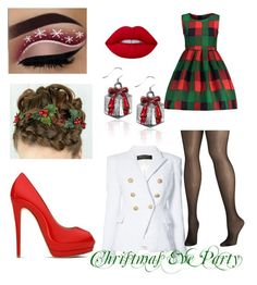 """""""Christmas Eve Party"""" by xemmaxrobx ❤ liked on Polyvore featuring Giuseppe Zanotti, Balmain, Avenue and Lime Crime"""