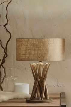 Derna Driftwood and Natural Jute Table Lamp - bulb not included - ES GLS - 1 bulb/s required. Deliveries to UK Mainland only. Jute, Lamp Bulb, Lamp Shades, Lawn And Garden, Driftwood, Lighting Design, Table Lamp, Uk Online, Natural