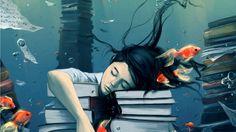 Wallpapers Girl Fantasy Dream Dreams Peace Books Studies Fish ...