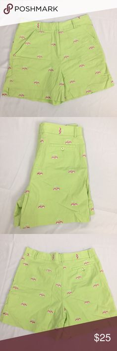 Lilly Pulitzer Green Golf Cart Shorts Super cute Green and pink golf cart shorts by Lilly Pulitzer. Great condition except for the inner button coming loose but they also have a hook. Size 6. 97% cotton and 3% spandex. Lilly Pulitzer Shorts