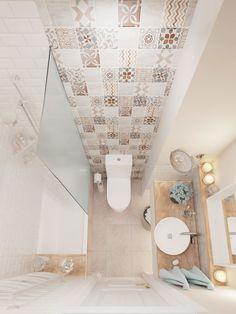 ผนังห้องน้ำกรุกระเบื้องลายสวย