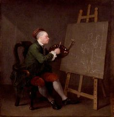 Self-portrait by William Hogarth, Date painted: c.1757. Unusual for artists to show themselves merely as artists, usually want to be more posh. Here the artist is bald, no wig cap, and is working on a history painting.