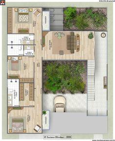 Dream House Plans, Modern House Plans, Small House Plans, House Floor Plans, Courtyard House Plans, Facade House, Home Design Plans, Plan Design, Villa Plan