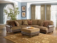 oversized sectional Marble Brown Tan Chaise Oversized Plush