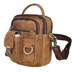 TIDING Retro leather sling messenger bag men's tote handbag brown 3 way small bag free shipping 3004