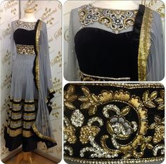 Grey black and gold anarkali