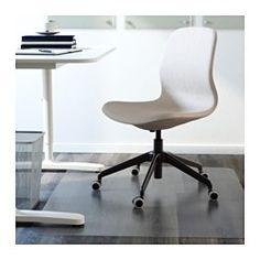 IKEA - LÅNGFJÄLL, Drehstuhl, Gunnared blau, schwarz, , Ein ergonomisch gestalteter Drehstuhl mit geschwungenen Linien, sorgfältig ausgearbeiteten Nahtdetails und leichtgängiger Mechanik, verborgen unter der Sitzfläche.Der Wippmechanismus lässt sich mit einem Inbusschlüssel dem Körpergewicht und den Bewegungen individuell anpassen.Die integrierte Lendenwirbelstütze entlastet und stützt das Rückgrat.Optimale Haltung dank der körpergerecht einstellbaren Stuhlhöhe und sehr bequem durch…