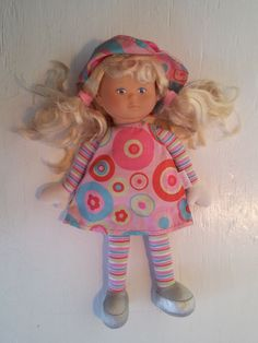 "Corolle Baby Doll Plush Pink Blonde Pigtails 2005 13""  #Corolle"