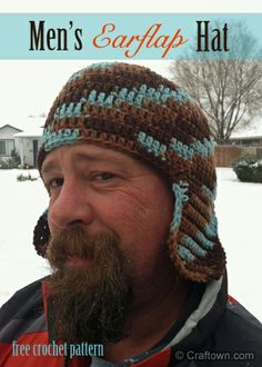 Men's Earflap Hat (free crochet pattern): one of our most popular patterns, regardless of season. #craftown #crochet SCROLL DOWN FOR PATTERN