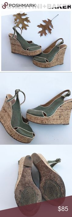 FIORENTINI + BAKER cork wedge green Shoes 37 7 Pretty preowned wedge open toe sandals.. size 37 Fiorentini + Baker Shoes Sandals