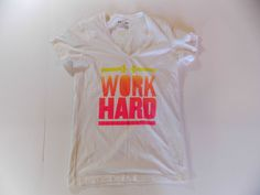 Small Womens Under Armour Heat Gear Fitted TShirt Work Hard Play Harder  #UnderArmour #ShirtsTops