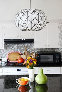 Love the kitchen light... what a gorgeous pattern