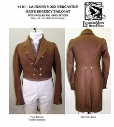 Laughing Moon Man's Regency Tailcoat pattern 121 by AuntJudysAttic