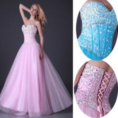 Strapless+Corset+Sequins+Formal+Party+Gown+Prom+Evening+Cocktail+Dress+Long+Sexy