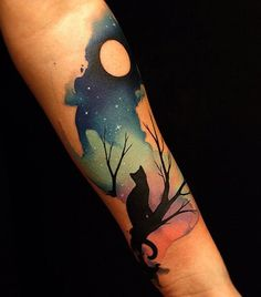 Watecolor cute cat and moon sleeve tattoo - 100+ Examples of Cute Cat Tattoo  <3 <3