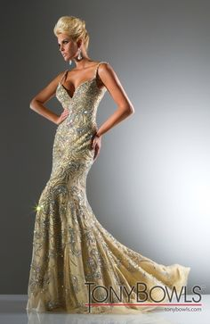 When in doubt, bling it.  Beads on Tulle Fitted Gown from Tony Bowls Collections