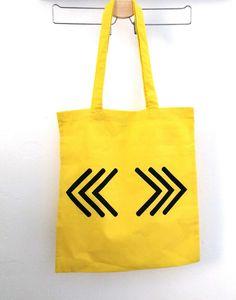 Yellow tote bag, canvas bag, 100% cotton bag with screen printed chevron design