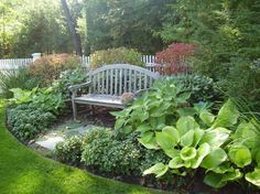 pachysandra Landscape Traditional with hosta garden bench