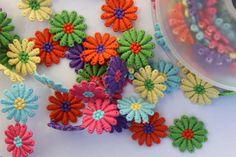 Embroidered Daisy Trim/Flower Trim in Multi-Coloured Rainbow or White/Grey Daisy Motifs Natural Linen, Ribbons, Hot Pink, Daisy, Delicate, Rainbow, Colours, Mini, Flowers
