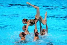 Russia compete in the Synchronized Swimming Team preliminary round on day four of the 15th FINA World Championships at Palau Sant Jordi on July 23, 2013 in Barcelona, Spain.