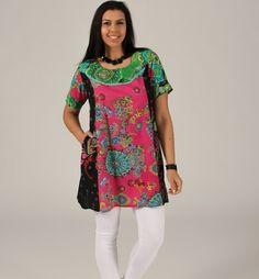 Tunica 100% cotone design spagnolo con tasca laterale. Tagli 50-54. Plus size. Condividi con i tuoi amici