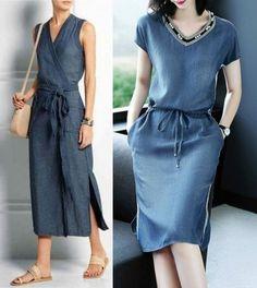 Stylish Dresses For Girls, Glam Dresses, Linen Dresses, Casual Dresses, Fashion Dresses, Denim Dresses, 60 Fashion, Denim Fashion, Runway Fashion