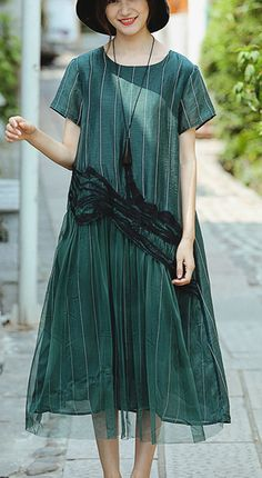 c1a51e6efd DIY o neck patchwork linen clothes For Women top quality Fashion Ideas green  striped Art Dress Summer. Summer Maxi