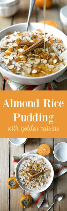 Almond Rice Pudding with Golden Raisins. The perfect, easy dessert. #thanksgiving #dessert #ricepudding #raisins #cinnamon #easydessert #nobake #pudding