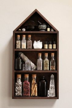 Please allow up to 7 business days for your House of Apothecary Set to leave the studio. The Stone & Violet House of Apothecary Shelf! Handmade Home Decor, Diy Home Decor, Handmade Pottery, Wiccan Decor, Spiritual Decor, Witch Room, Witch House, Kitchen Witch, Home And Deco