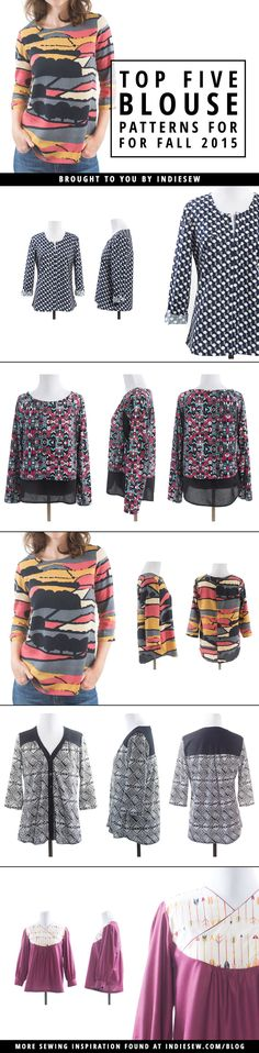 Fall blouses are perfect for layering and can be sewn up in an afternoon! Check out our favorites for fall 2015.   Indiesew.com