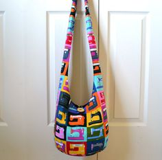 Hobo Bag Sling Bag Sewing Machines Bright Colorful by 2LeftHandz, $34.00