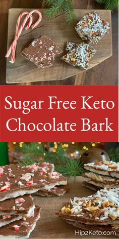 Keto Chocolate Bark 3 Ways: Almond Joy, Orange & Peppermint Low Carb Candy, Keto Candy, Low Carb Sweets, Low Carb Desserts, Dessert Recipes, Cookie Recipes, Keto Cookies, Chip Cookies, Almond Cookies