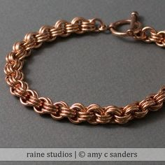3 in 3 Copper Handmade hainmaille bracelet. by rainestudios