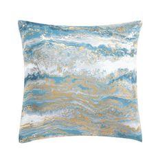 Yellow Geometric Print Pillow Paper Mache Pumpkins E by design 26 x 26-inch