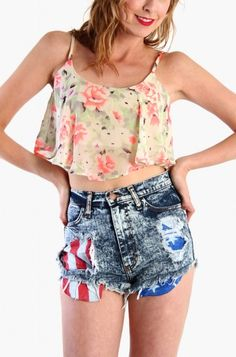 LoveMelrose.com From Harry & Molly | Floral Layer Crop Tank Top