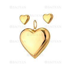 juego dije y aretes de corazon brillo dorado acero inoxidable -SSSTG514016