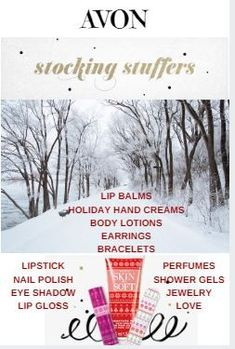 Christmas Stocking Stuffers made easy with AVON! Christmas gifts for women, men and teens. Bath & Body products, makeup, fragrance & lotions make cheap holiday presents for her. Christmas Gifts For Coworkers, Christmas Gifts For Women, Gifts For Teens, Christmas Ideas, Christmas Decorations, Christmas Presents, Holiday Ideas, Holiday Gifts, Stocking Stuffers For Women