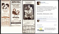 """Our """"Movie"""" Engagement, Wedding Announcements\ as Posted on FaceBook."""
