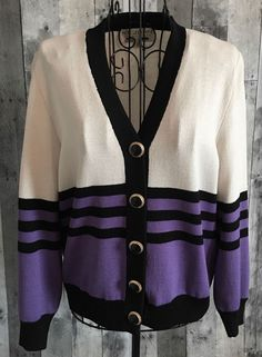 St. John Collection by Marie Gray Striped Cardigan Sweater Top Blouse Size 2 #StJohn #Cardigan
