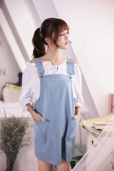 Japanese Fashion - Denim strap dress