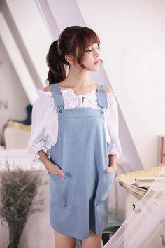 Japanese Fashion - Denim strap dress