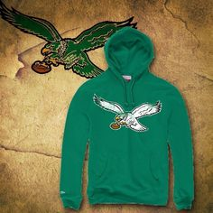 75b72c5f Philadelphia Eagles Kelly Green Vintage Bird Mitchell and Ness Pullover  Hoodie
