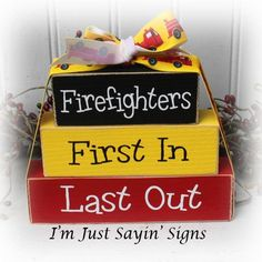 Items similar to Firefighters First In Last Out Itty Bitty Wood Stacking Blocks on Etsy 2x4 Crafts, Wood Block Crafts, Scrap Wood Projects, Wooden Crafts, Fire Crafts, Wooden Art, Vinyl Projects, Woodworking Projects, Craft Projects