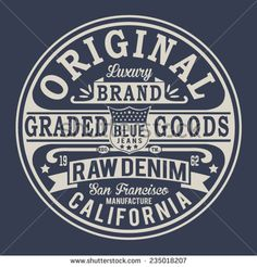 Vintage denim typography, t-shirt graphics, vectors