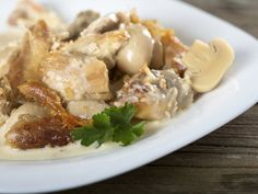 A 5-star recipe for Pheasant in Mushroom Sauce made in the crock pot made with pheasants, chicken broth, flour, Worcestershire sauce, salt, onion, garlic, cream of