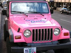 Saw this Barbie Jeep while driving with my mom the other day..... DREAM VEHICLE <3
