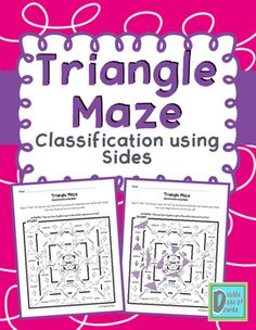 Triangle Maze Worksheet to practice classifying triangles based on their angles (acute, obtuse, or right) and sides (scalene, isosceles, equilateral). Triangle Worksheet, Maze Worksheet, Worksheets, Teaching 5th Grade, Fifth Grade Math, Teaching Math, Classifying Triangles, Teaching Geometry, Elementary Math