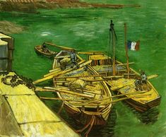 Vincent van Gogh (Dutch, Post-Impressionism, 1853-1890): Quay with Men Unloading Sand Barges, 1888. Created in Arles, France.