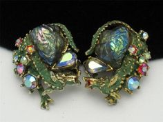 RARE Har Vintage 1950's Lava Rock Rhinestone Enamel Fantasy Dragon Earrings | eBay